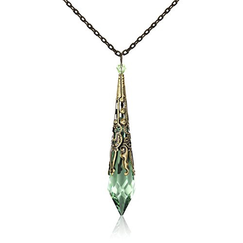HALONA Vintage Antique Bronze Victorian Pendant Necklace with SWAROVSKI Icicle Crystal (Peridot)