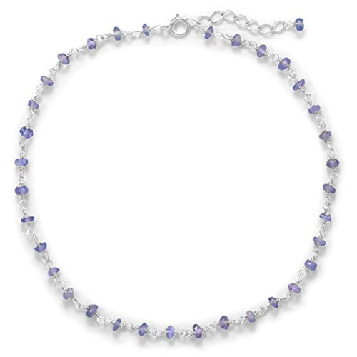 Lavender Love! 2x3.5mm Tanzanite Rondell Beads Sterling Silver Anklet, 9.5 + 1 inch Ext.