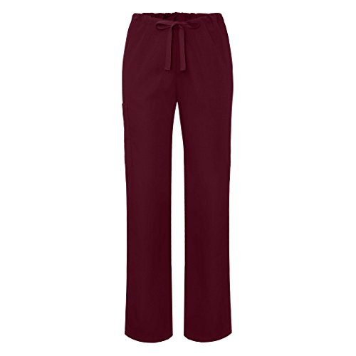 Adar Universal Unisex Natural-Rise Drawstring Tapered Leg Pants - 504 - Burgundy - M