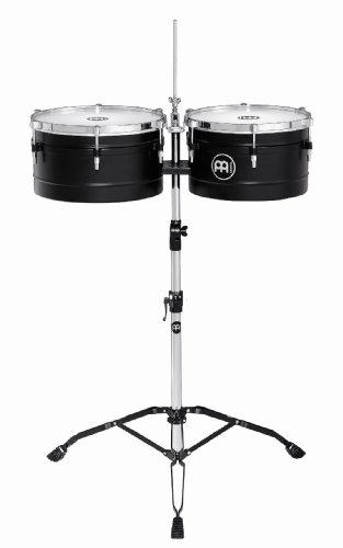 Meinl Percussion TI1BK Floatune Series 13-Inch and 14-Inch Timbales with Tripod Stand, Black Powder Coated Steel by Meinl Percussion