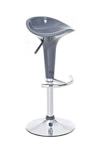 CLP Taburete Saddle Con Asiento De Polipropileno I Taburete De Bar Altura Regulable & Giratorio I Silla Alta De Cocina Con Reposapies I Color: Gris