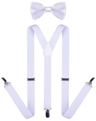 Kid Bow Tie and Toddlers Baby Suspenders for Kids White Bowtie and Suspender Set (Snow White Outfit Ideas)