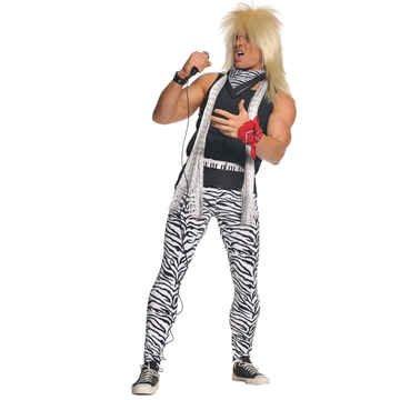 Underwraps Men's 80's Rocker, Zebra/Black, One Size - Mens 80s Rock Costume