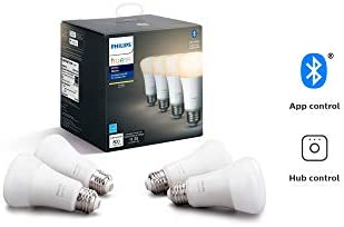 Philips Hue White 4-Pack A19 LED Smart Bulb, Bluetooth Zigbee compatible Hue Hub Optional , voice activated with Alexa Renewed