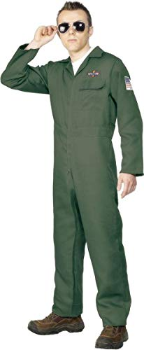 Smiffys Men's Aviator Costume with Zip Up Jumpsuit, Green, Large