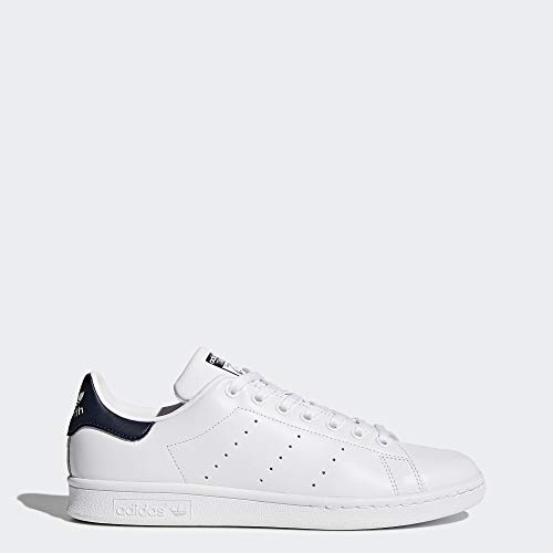 adidas Originals Men's Stan Smith Leather White/Navy Athletic -
