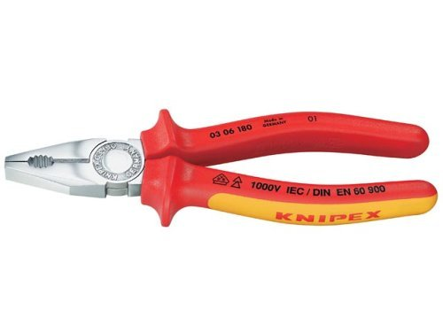 KNIPEX 03 06 180 Combination Pliers chrome plated insulated with multi-component grips, VDE-tested 180 mm by Knipex (180 Combination Plier)