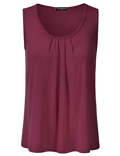 Shell Scoop (EIMIN Women's Pleated Scoop Neck Sleeveless Loose Fit Basic Soft Tank Top Burgundy M)
