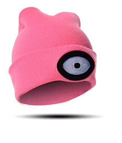 THJH LED Headlamp Beanie Cap,Warm Lighted Headlamp Hat,USB Rechargeable Lighted Hat (Pink)