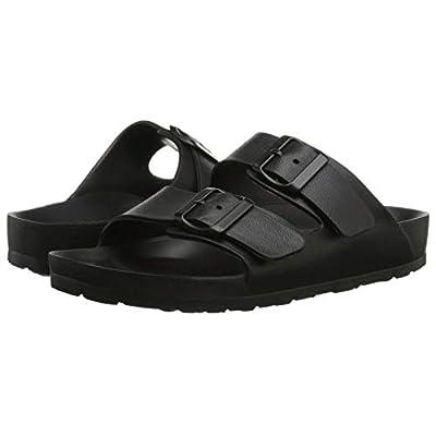 Toson Men's Women's Comfort Slides Double Buckle Adjustable EVA Flat Sandals Flip Flops Slippers (7 Women, Black) | Sandals