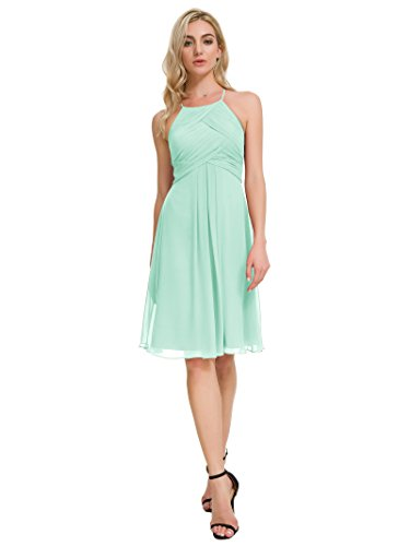 - Alicepub Chiffon Bridesmaid Dresses Halter Cocktail Dress Short Homecoming Party Dresses, Mint Green, US16