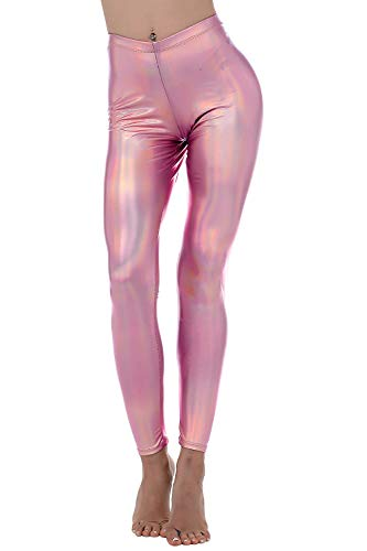 Diamond keep it Liquid Wet Look Shiny Metallic Stretch Leggings (S, Multicolor Pink) (Metallic Pant Striped)