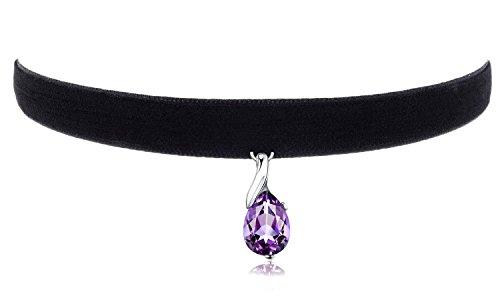 "Cozylife 3/8"" Girls Black Velvet Choker Necklace with Purple Crystal Pendant"