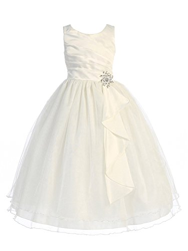 Silver Surplice - Girls Chic Baby Surplice Double Layer Girl Dress-Ivory-6-(CB303)