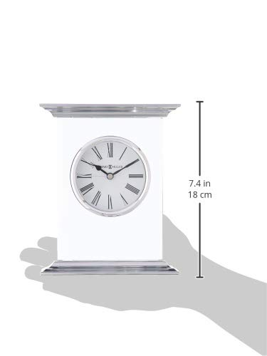 Howard Miller Clifton Table Clock 645-641 – Modern Glass with Quartz Movement - TABLE CLOCK: The Clifton Table Clock is a glass and metal carriage clock with a .375 inch thick beveled glass panel to compliment your home decor. The clock's quartz movement makes a soft ticking noise without the use of chimes for a quieter environment. DURABLE: This indoor modern clock is created to last. It has a sturdy frame to relieve stress in a busy household. Place it in your kitchen, office, bathroom, bedroom, living room, and more. A felt bottom will protect your tabletop or desk. HIGH QUALITY: The design is a home essential with a brushed aluminum top and base with polished edges. Easily tell time with black Roman numerals behind glass, polished chrome-finished bezel, black hands, and silver seconds hand to stand out over a white dial. - clocks, bedroom-decor, bedroom - 31Cfu3bBL8L -