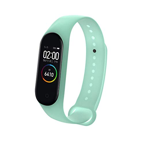 for Xiaomi Miband 4 Luminous Silicone Soft Wrist Strap,8 Color Luxury Replacement Wristband Lightweight Sports Watch Strap Stylish Wristband Strap Xiaomi Mi Band 4 Men Women Night Running (Light blue)