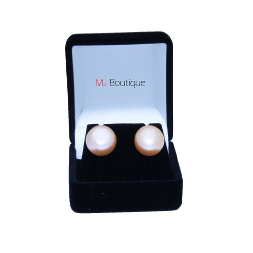 10mm - 12mm Peach Freshwater Cultured Pearl Earrings Stud Gift for her