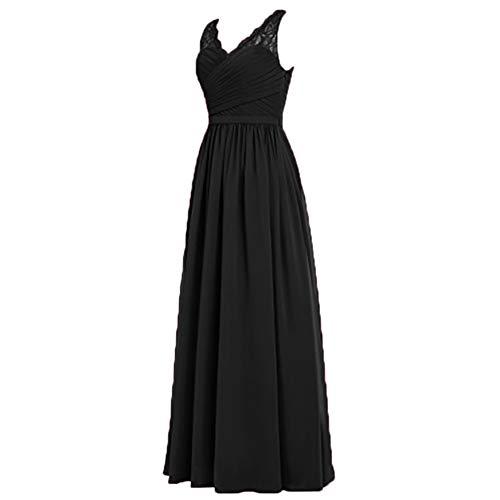 Spitze Schwarz Chiffon Lang Charmant Elegant Abendkleider A Linie Ballkleider Damen Rock Brautjungfernkleider 4WHn6On71