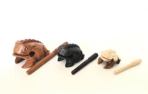Percussion Instruments Wooden Frog 3 Piece Set of 4 Inch Brow Frog, 3 Inch Black Frog, 2 Inch Natural Wood Frog, Products From Thailand,wooden frog musical instrument.