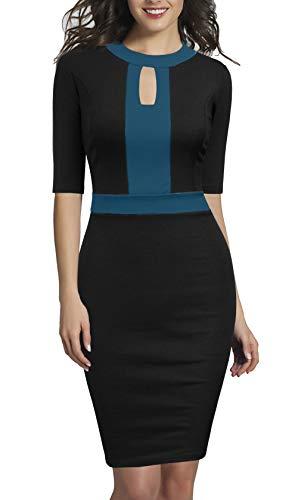 REPHYLLIS Women's Elegant Half Sleeveless Business Causal Party Pencil Work Dress Black - Elegant Sleeve Half