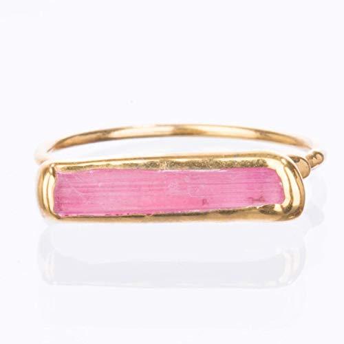 (Size 8 Pink Bar Ring, Pink Tourmaline, Yellow Gold, Raw Gemstone Jewelry)