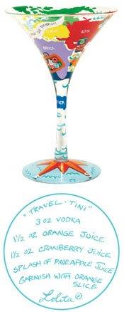 Lolita Travel-tini Martini Glass Retired - Hand-Painted Gift-Boxed Bar Kitchen Tini (Ceramic Martini Glass)