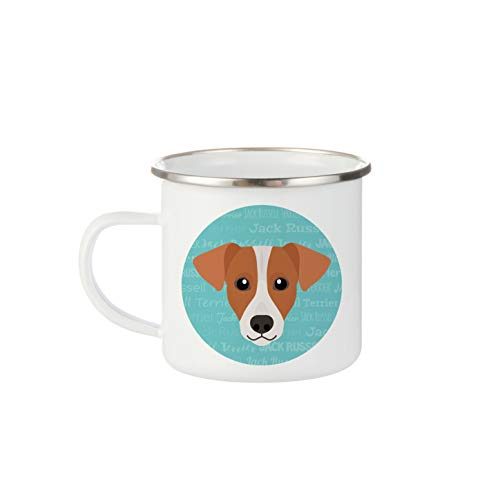 Mystic Sloth Adorable Dog Breed Specific 12oz White Enamel Camp Mug (Jack Russell Terrier)