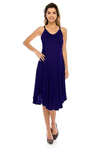 Rayon Stile Midi Dress usa 5x J Base Di Arco Delle Spaghetti Cinghia Donne Doe Della Arrotondato Orlo Marina formato S C78tqw7x