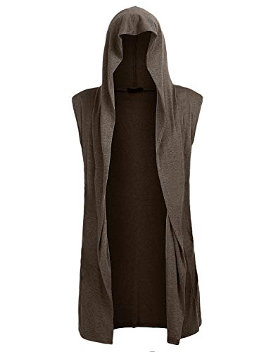 Mens Open Front Sleeveless Vest Draped Lightweight Hooded Cardigan Shawl Collar S ()