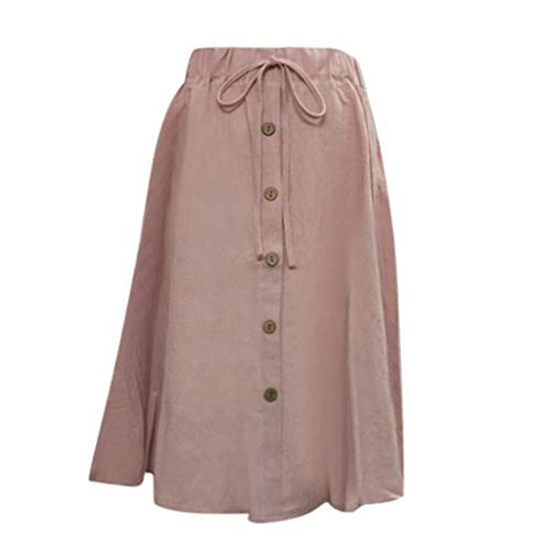 (Clearance Dacawin-Dress Women Cotton Linen Midi Skirts - High Waist Drawstring Lace-up Wild Loose Button Casual Flax Skirt Pink)