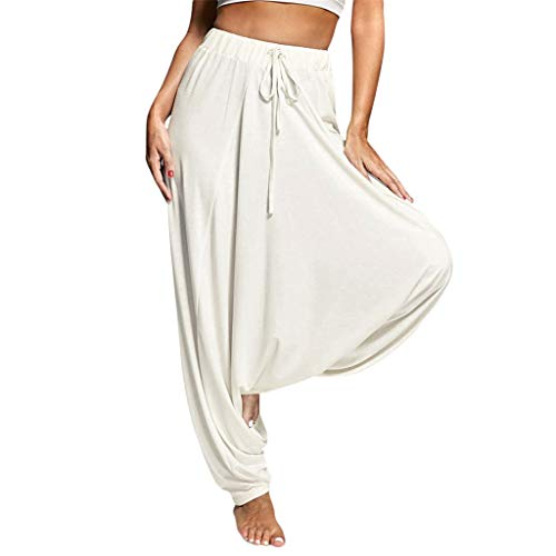 (Sunhusing Women Solid Color Plus Size Harem Pants Yoga Hanging Pants Ladies Casual Loose Lace-Up Trousers White)