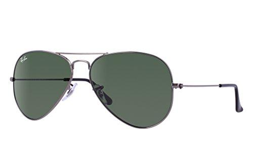 Ray-Ban RB3025 Aviator Sunglasses (58 mm, Gunmetal Frame/Non-Polarized Green G-15 Lens)