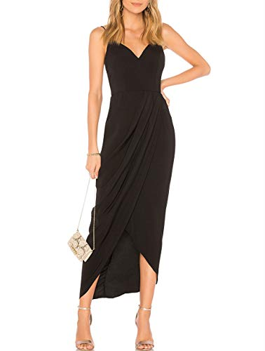 cmz2005 Women's Sexy V Neck Backless Maxi Dress Sleeveless, Black, Size Small