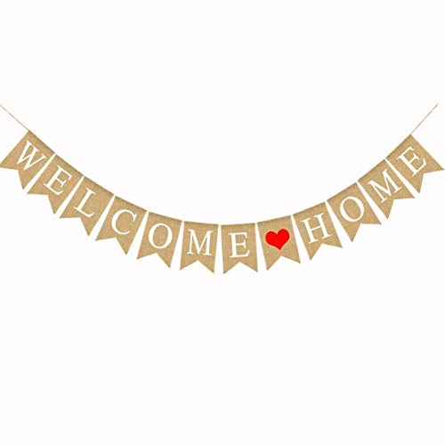 (Burlap Welcome Home Banner with Heart Rustic Burlap Bunting Home Decoration Party Banner)