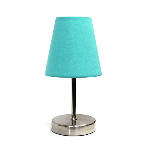Simple Designs Home LT2013-BLU Sand Nickel Table Lamp with Fabric Shade, Blue