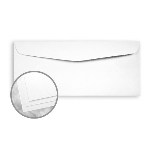 Strathmore Writing Ultimate White Envelopes - No. 10 Commercial (4 1/8 x 9 1/2) 24 lb Writing Laid 25% Cotton Watermarked 2500 per Carton by Mohawk Fine Papers Strathmore Writing