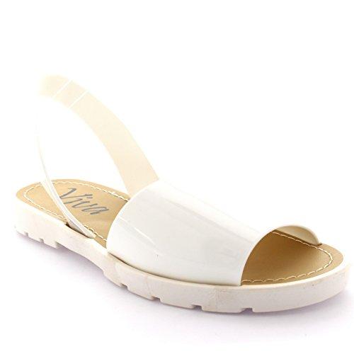 Sandalias Blanco Back Peep Sling Planoform Toe Festival Mujer Sliders Chanclas PAOCx88wq