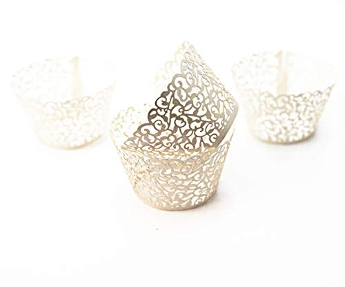 Filigree Artistic Hollow Out Bake Cake Paper Cups Little Vine Lace Laser Cut Liner Cupcake Wrappers Baking Cup Muffin Holder Case for Wedding/Birthday/Afternoon Tea Party Decoration (50, Ivory)