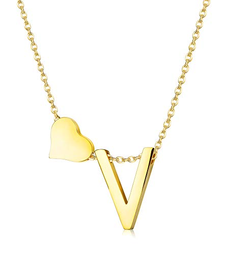 Hanpabum Gold Tone Initial Alphabet Heart Pendant Necklace A-Z Letter Pendant Choker Jewelry Gift for Her (V)
