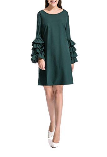 Myfeel Women's Voguish Ruffle Flare Sleeve Casual Swing Mini Dress (X-Large, Green)
