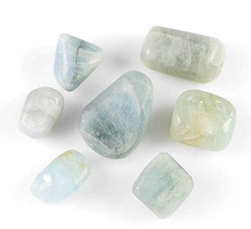 ThrowinStones Aquamarine Tumbled Stones - Two Genuine Natural Tumbled Aquamarine Gemstones, Wicca Reiki Crystals and Healing Stones E0959