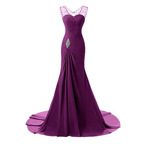 Sirena Plisado Con Novia Purple4 Gasa Noche Vestido Cristal Para De Mujer Cuentas Busto 4Onw1Yq