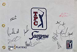 The Players 11 Scott, Els, Price Signed Autographed Tpc Sawgrass Pin Flag Fanatics Coa Certified Certified