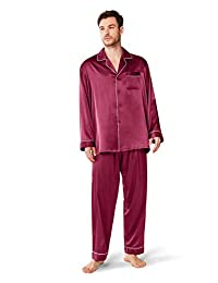 SIORO Mens Silky Satin Pajama Sets-Long Sleeve Pj Set Sleepwear Loungewear M-XXL
