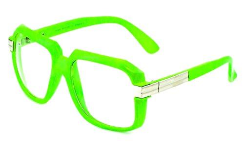 Gazelle Emcee Oversized Square Sunglasses w/ Clear Lenses (Neon Green & Silver Frame, - Neon Glasses Green