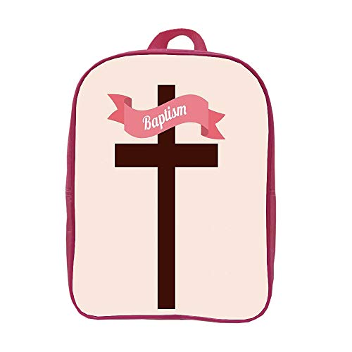 iPrint Children's knapsack Customizable,Baptism,Baptism Message on Ribbon Cross at The Back Christening Church Event Design,Cream Chesnut Brown,Picture Print Design. by iPrint