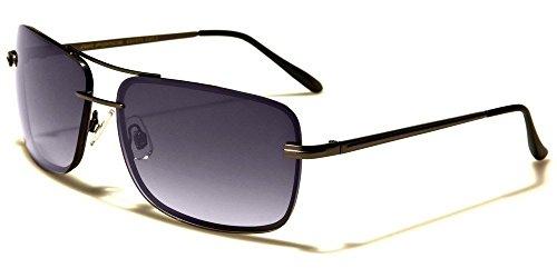 Gunmetal Gradient Classic Rectangle Stylish Metal Aviator Men'S - Sunglasses Shaped America