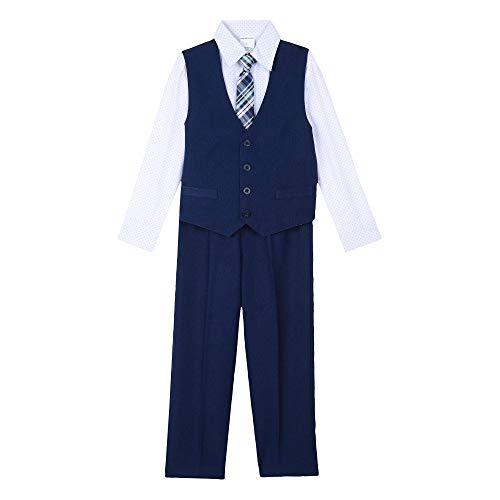 Van Heusen Baby Boys 4-Piece Patterned Dresswear Vest Set, poplin Academy Blue, - Poplin Patterned Boys Shirts