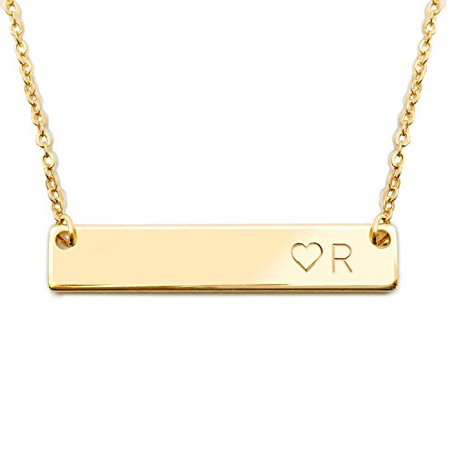 Gold Initial Bar Necklace With A Heart Sister Necklace Bridesmaid Jewelry Birthday Gift for Her - 4N-<3 (R)