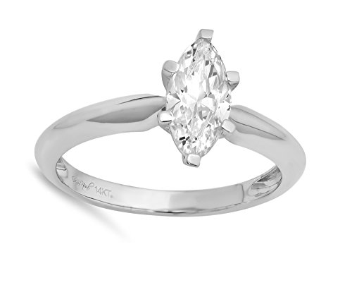 1.0 CT Marquise Brilliant Cut Simulated Diamond CZ Solitaire Engagement Wedding Ring 14k White Gold, Size 10.5